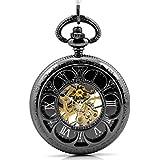 Tirio Magic Roman Half Hunter Black Steel Hollow Skeleton Hand Wind Mechanical Pocket Watch Long Chain