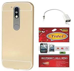 Tidel Luxury Metal Bumper Acrylic Mirror Back Cover Case For Moto G Plus, 4th Gen - Golden With Tidel Screen Guard & Audio Spliter