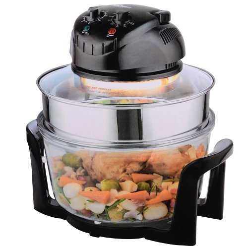 Your Kitchen...17L Halogen Oven with Extender in Black with Two Cooking Racks, Tongs and Lid Stand