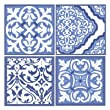 Stone Drink Coaster Set Blue and White Scrollwork