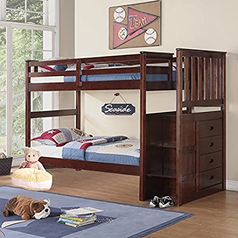 Boraam 97121 Bunk Bed, Twin and Twin, Cappuccino