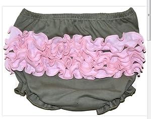 Bubele Fancy Ruffled Bloomers Sz 9 Girl Boy Baby Panties Underwear Gifts (Grey & Pink)