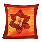 BIG LILY FLOWER PATCH CUSHION COVER ORANGE & RUST 1 PC (40 X 40 CMS)
