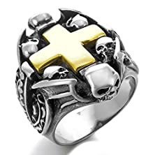buy Men'S Stainless Steel Ring Silver Black Celtic Medieval Cross Heart Skull Bat Wing Size10
