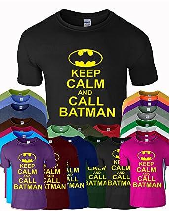 """SnS Online Batman Comic Super Hero Herren Jungen Mädchen Unisex Damen Damen T-Shirt Tee Top Cotton Keep Calm Batman T-Shirt - Schwarz ( Black ) - M - Brustumfang : 38"""" - 40"""""""