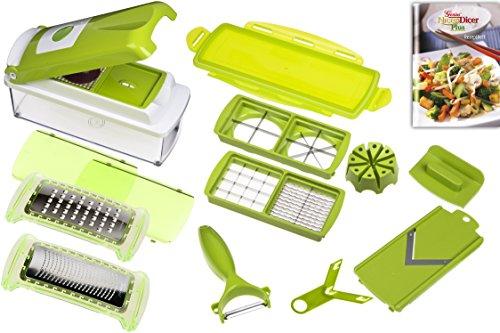 Nicer Dicer Plus Kit pour râper, découper et hacher 14 pièces kiwi