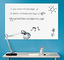 Wall26 Wall Chalkboard Removable Dry Erase Blank Message Board Peel and Stick Decal Sheet (Marker Included) - 36\