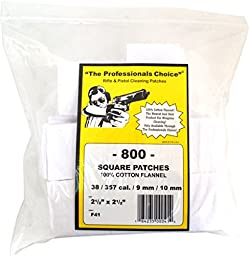 The Professional\'s Choice Pistol/Rifle Cotton Flannel 2 1/2-Inch Square Gun Cleaning Patches (800-Pack), .38/.357-Calibre/9mm/10mm