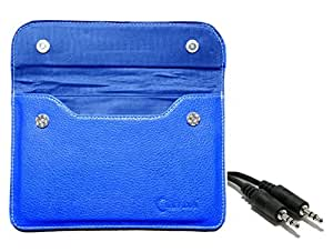 Chevron Pouch Cover Case for HCL ME Connect 2G 2.0 Tablet with Aux Cable - Blue