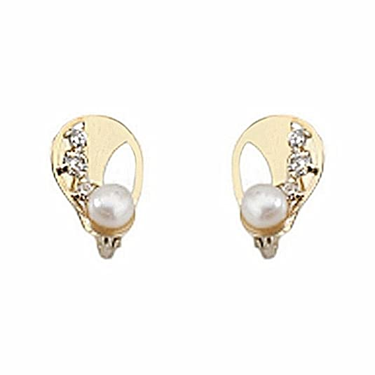 18k gold cultured pearl earrings 4mm. leaf oval zircons [6691P]