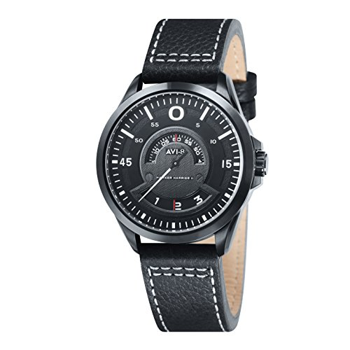 AVI-8 Hawker Harrier Ii Men's Quartz Watch with Black Dial Analogue Display and Black Leather Strap AV-4006-04