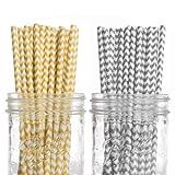 Dress My Cupcake 50-Pack Vintage Paper Straws, Chevron, Yellow/Grey