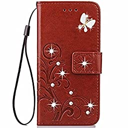 Note 5 Case,Superstart Beauty Luxury 3D Fashion Handmade Bling Crystal Rhinestone Butterfly Floral Lucky Flowers PU Flip Stand Credit Card ID Holders Wallet Leather Case Cover for Samsung Galaxy Note 5--Brown