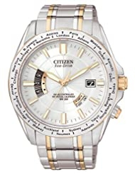Citizen Mens Eco-Drive World Perpetual AT - Two-Tone - Silver Dial - Bracelet