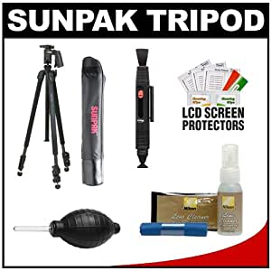 Sunpak Pro 423PX Carbon Fiber 3 Section Tripod with Compact Pistol Grip Ball Head & Case + Cleaning Kit for Nikon D3000, D3100, D5000, D7000, D90, D300s, D3, D3s, D3x Digital SLR Cameras