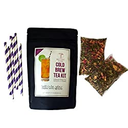 BIG T NYC Tell-Tale Glow Cold Brew Tea Kit Includes: 2 Sachets Of Premium Organic Loose Leaf White Tea and Straws