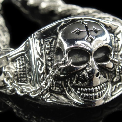 Men 316L Stainless Steel Heavy Cross Skull Devil Bracelet for Harley Motor Biker TB30