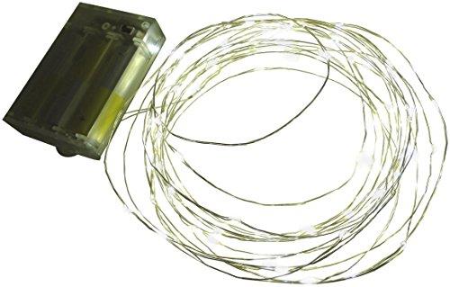 htl Led Lichterkette Batterie mit Timer 60 Lämpchen Micro Tropfen auf biegsamen Silberdraht