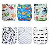Alva Baby 6pcs Pack Pocket Washable Adjustable Cloth Diaper With 2 Inserts Each (Boy Color) 6DM08