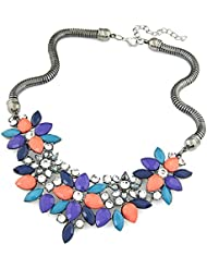 Hot And Bold Splendid Colorful Floral Party-Look Gold Plated American Diamond Necklace For Women & Girls. Made...