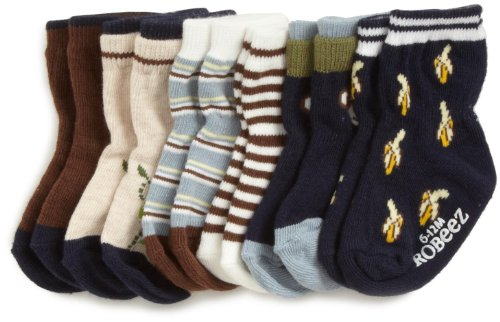 Robeez Baby-Boys Newborn 6 Pack Monkey Socks, Navy/Multi, 12-24 Months