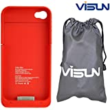 VISUN™ 1900mAh Portable External Power Pack Backup Battery Charger Case with 6.69 inch VISUN Waterproof Bag for iPhone 4 4S At&t and Verizon (Red)