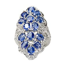 buy Luxurious Rare Natural Kyanite Twin Flower With Cz Ring 925 Silver Size 6