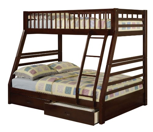 Cute ACME SM Jason Twin Full Bunk Bed with Drawer Espresso Finish