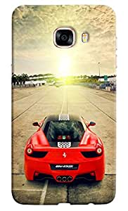Omnam Red Black Ferrari On Track Printed Designer Back Cover Case For Samsung Galaxy C5
