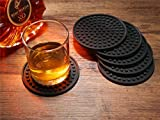 Enkore Drink Coasters Silicone Set of 6 (Black) with Holder - Good Grip, Deep Tray, Large 4.3 inch Size