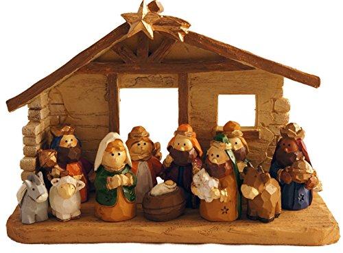 Miniature Kids Christmas Nativity Scene With Creche Set