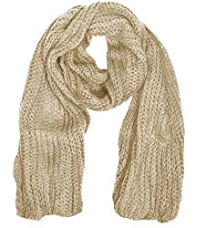 Peach Couture Warm and Cozy Unisex Chunky Hand Knit Long Scarf (Beige)