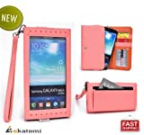 [Expose] Universal Womens Wallet Wrist-let with Clear Screen Protector fits Samsung Galaxy Note / Note 2 / Note 3 Phone Case - PINK. Bonus Ekatomi Screen Cleaner
