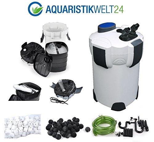Aquaristikwelt24-Aquarium-Auenfilter-1400-Lh-3-Stufen-700l-UVC-Klrer-KOSTENLOSES-Filtermaterial-Filterwatte-40-BioBalls-und-120-Keramik-Ringe