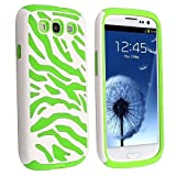 MagicSky Plastic Silicone Hybrid White Zebra Pattern Case for Samsung Galaxy III S3 i9300 - 1 Pack - Retail Packaging - Green