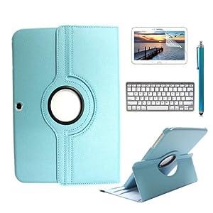boriyuan 360° drehbar PU Leder Case Cover Hülle mit bluetooth Tastatur Keyboard + Stylus + Displayschutzfolie für Samsung Galaxy Tab 3 P5200 P5210 P5220 Farbe: Hellblau