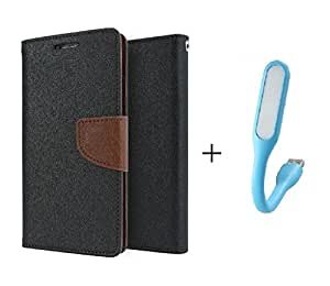 MicroMax Xpress 2 /E313 Flip Cover With USB Light By Online Street (Brown Flip With Colurs May vary In USB Light)
