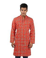 Royal Cotton Men's kurta Peach New Kurta Hand Block Printed Large Long shirt Floral Shirt By Rajrang