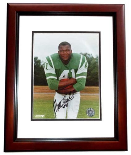 Matt Snell Autographed New York Jets 8x10 Photo MAHOGANY CUSTOM FRAME - Super Bowl III Champion at Amazon.com