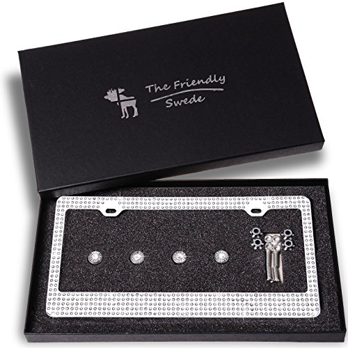 The Friendly Swede Sparkle Crystal Bling Car License Plate Frame with 8 Crystal Rows in Gift Box (License Plate Frames Rhinestones compare prices)
