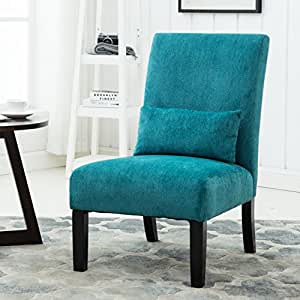 Pisano Teal Blue Chenille Fabric Armless Contemporary Accent Chair With Matching