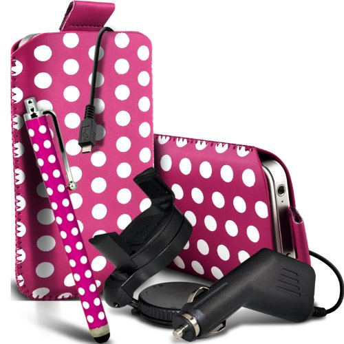 Best  Nokia Lumia 525 Premium Protective Polka PU Leather Pull Tab Cord Slip In Pouch Pocket Skin Cover Quick With Large Matching Stylus Pen, Micro 12v USB car charger & 360 Rotating Windscreen Car Holder Cradle Hot Pink & White by Spyrox