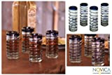 NOVICA Hand Blown Blue Recycled Glass Shot Glasses, 1 oz 'Cobalt Spiral' (set of 4)