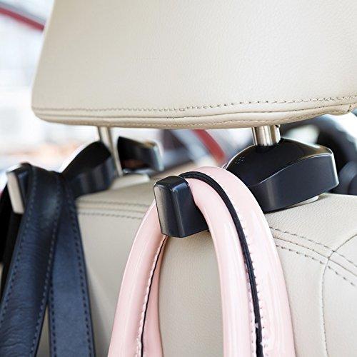 ChiTronic Car SUV BackSeat Headrest Hanger Hooks - Set of 2 (Black)