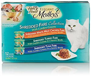 Fancy Feast Elegant Medleys, Shredded Fare Collection 3-Flavor Variety Pack (12 Count, 3 Oz Each)