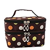 Kalevel Fashion Dots Popular Double Layer Dual Zipper Toiletry Travel Cosmetic Bag Makeup Bag Case Toiletry Bag...