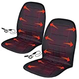 BDK 2P-056-BK_AMO Black Travel Warmer Pair-2 Heated Seat Cushions Covers 12-Volt Padded Thermal Release