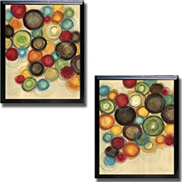 Colorful Whimsy I & II by Jeni Lee Preimium Satin-Black Framed Canvas Set (Ready-to-Hang)