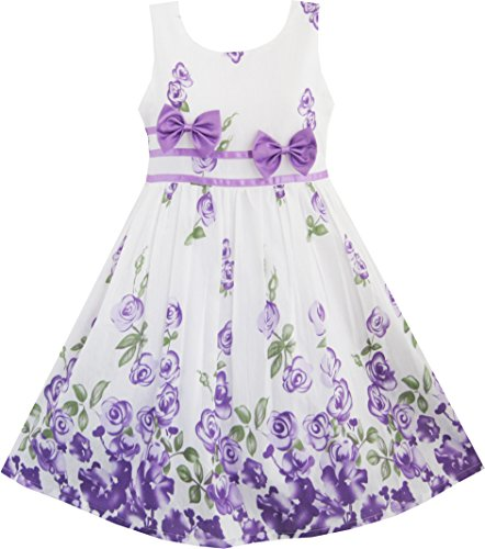 Girls Dress Purple Rose Flower Double Bow Tie Party Kids Sundress Size 4-5 Years