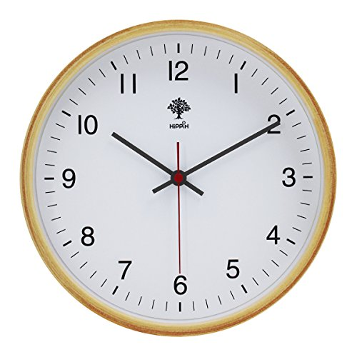 Hippih Silent Wall Clock Wood 8-inches Non Ticking Digital Quiet Sweep Decorative Vintage Wooden Clocks(white) 0